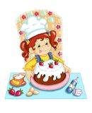 The greedy cook. Digital illustration realized with Photoshop. A nice baby that prepares a delicious cake Stock Photos