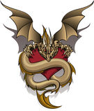 Greedy Dragon. The old dragon who guards the heart drawn in cartoon style royalty free illustration