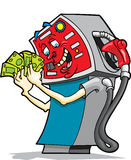 Greedy Gasoline Pump. This is a greedy gasoline pump counting his take for today Royalty Free Stock Images