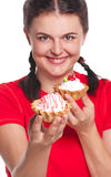 Greedy girl Royalty Free Stock Photography