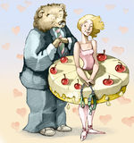 Greedy. A girl with a skirt-shaped cake attracts a bear in a suit and tie stock illustration