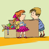 Greedy girl with toy and boy. Caricature cartoon style hand drawn color illustration royalty free illustration