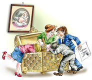 Greedy heirs. Comic illustration of Greedy heirs fighting over grandmother`s inheritance Royalty Free Stock Photography