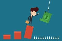 Greedy investor. On risk graph flat design Royalty Free Stock Photo