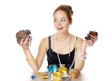 Greedy for jewelry Royalty Free Stock Photos