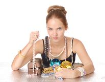 Greedy for jewelry Stock Image