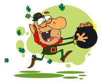 Greedy Leprechau. N Run with a Pot of Gold,background vector illustration