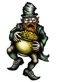 Greedy Leprechaun and a pot of gold vector illustration