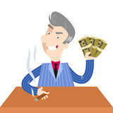Greedy looking boss cartoon character holding up bundles of banknotes. Unpleasant and greedy looking gray-haired boss businessman cartoon character sitting at a Royalty Free Stock Photography