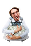 Greedy man. Portrait of a greedy man hiding his money Royalty Free Stock Photos