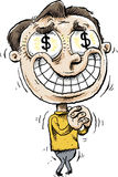 Greedy Money Eyes. A shaking, smiling cartoon man overwhelmed by greed with dollar signs in his eyes Royalty Free Stock Photos
