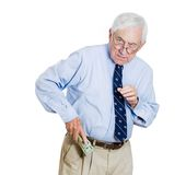Greedy old man Royalty Free Stock Image