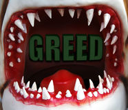 Greedy open mouth. Open shark mouth with greed text Royalty Free Stock Photos