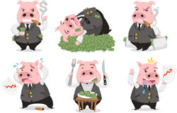 Greedy pig business rich piggie set. Greedy Pig Rich Banker in love with money, with six pigs in six different situations like Smoking cigar pig, sleeping on Stock Images