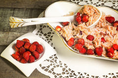 Greedy risotto with wild strawberry and red onion Stock Images