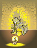 Greedy troll. Counting golden coins in the deep of dungeon, vector illustration Stock Photo