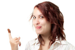 Greedy Woman with Chocolate Spread. On Her Finger Stock Photos