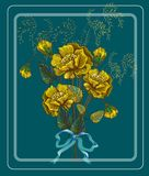 Greeeting-Karte mit gelben Blumen, Weinlese Lizenzfreie Stockbilder
