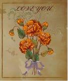 Greeeting-Karte mit roter Mohnblumenblumenweinlese Stockfotos