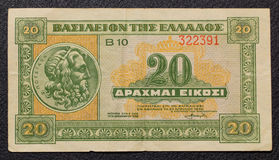 Greek 20 drachmas banknote from 1940. Greek twenty drachmas banknote from 1940 Stock Photo
