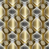 Greek abstract vector seamless pattern. Gold geometric greek seamless pattern wallpaper. 3d abstract floral striped leaves, spiral circles, shapes and greek key Royalty Free Stock Photo