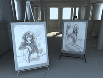 Greek academy 03. Render of greek fine art academy atelier with two drawing Stock Images