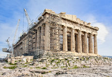 Greek Acropolis in Athens on reconstruction Stock Photos