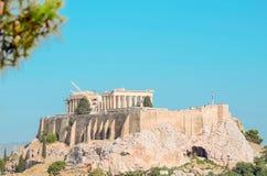 Greek Acropolis. Beautiful view of Mount Acropolis in Greece Stock Image