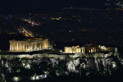 Greek Acropolis (Parthenon) Cityscape from Mount Lycabettus (Lykavittos Hill ), Athens Royalty Free Stock Photos