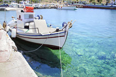 Greek Aegean sea with fishing boat Stock Image