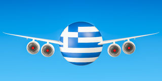 Greek airlines  flights to Greece concept. 3D rende Stock Photos