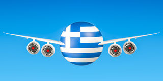 Greek airlines and flying`s concept. 3D rendering Royalty Free Stock Image