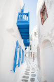 Greek alley. Typical architecture of the greek island of the Cyclades, Mykonos Royalty Free Stock Photography