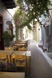 Greek alley. Restaurant in a Greek alley Stock Image