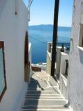 Greek alley. Alley on santorini island, greece Stock Photo