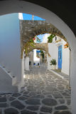 Greek alley. Paros island, Greece. Stock Photo