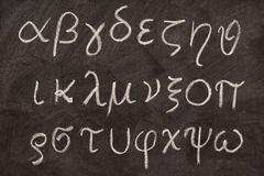 Greek alphabet on blackboard Stock Photography