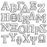 Greek alphabet sketch. Doodle style Greek Alphabet useful for sorority and fraternity emblems and design projects. Vector format royalty free illustration