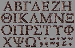 Greek alphabet stone letter set Royalty Free Stock Images