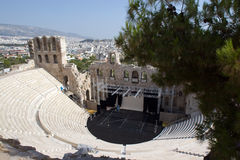 Greek Amphitheater at Acropolis Stock Images