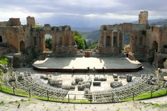 Greek amphitheater in Taormina Stock Photo
