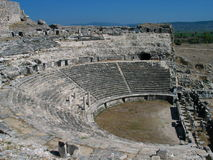 Greek amphitheatre. Well preserved amphitheatre in ruined Greek city of Miletus Royalty Free Stock Photo
