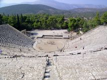 Greek amphitheatre. Ancient Greek theatre, built ca. 350-300 BC by Polykleitos the Younger royalty free stock photography