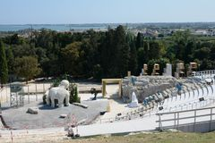 Greek amphitheatre in Syracuse Sicily. The Greek amphitheatre in Syracuse Sicily still in use Stock Photo