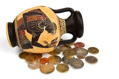 Greek amphora with coins stock photos