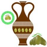 Greek Amphora . Olives Icon on White Background Stock Photography