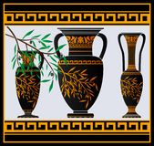 Greek amphoras and jug Stock Image