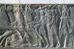 Greek ancient alike plaque at Great Alexander monument, Greece Stock Photos