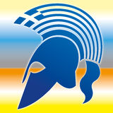 Greek ancient helmet silhouette symbol with flag Stock Images