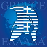 Greek ancient helmet symbol and flag Stock Photo